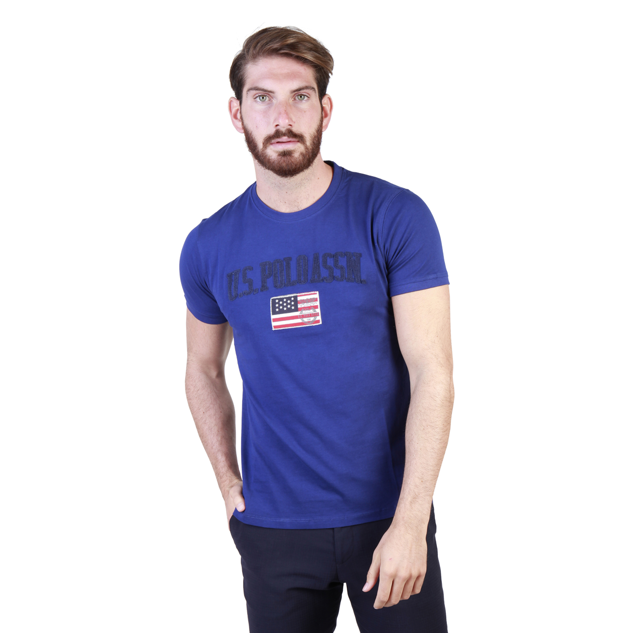 Us Polo Mens Blue T Shirt Short Sleeves Crew Neck Chest