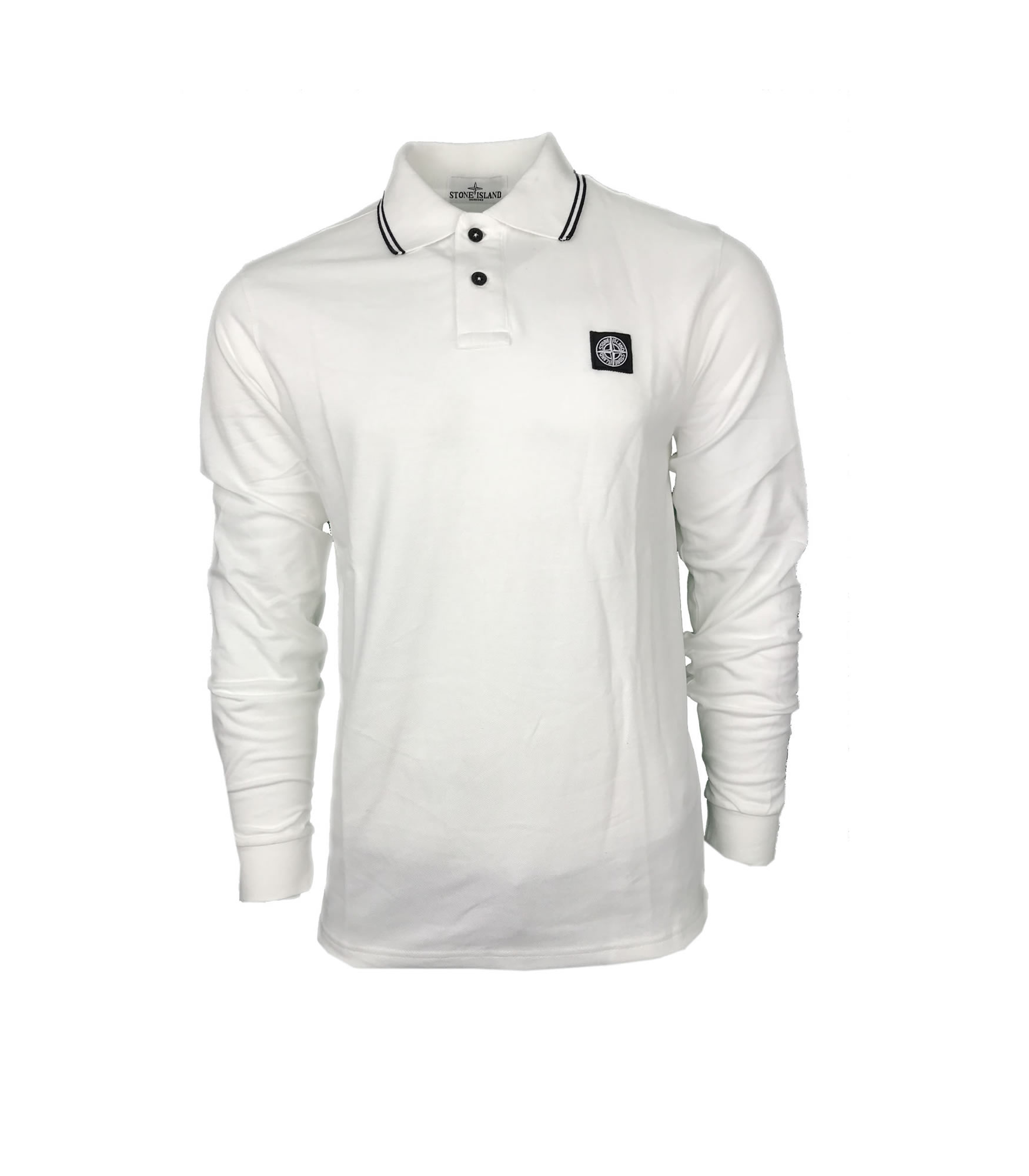 a51eb7ab Stone Island Long Sleeve Polo Shirt. Regular Fit in White | INTOTO7 ...