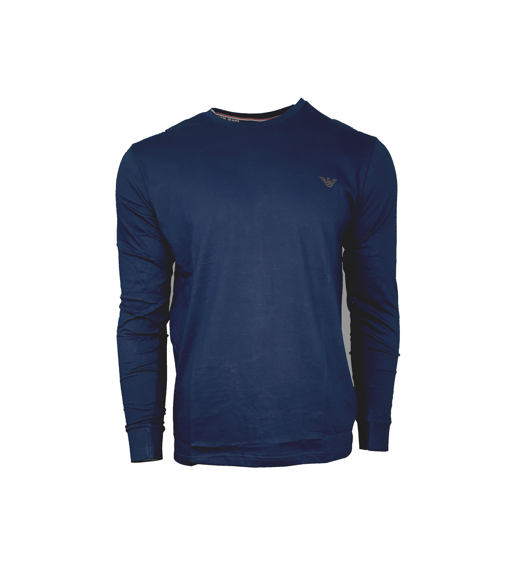 cfc3759935 Armani Jeans Long Sleeve Crew T-Shirt. Small Eagle in Navy Blue | INTOTO7  Menswear