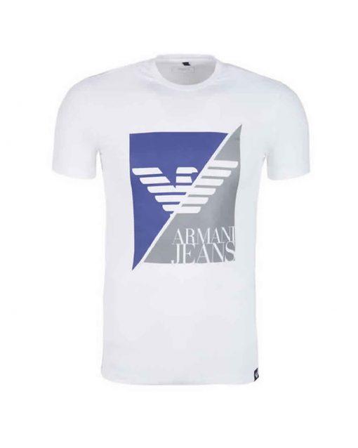 Armani Jeans - Men's Crew T Shirt. Short Sleeve. Split Square White FRNT