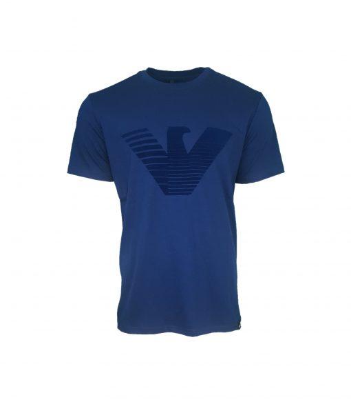 Armani Jeans Flock Print T Shirt. Big Eagle in INDIGO