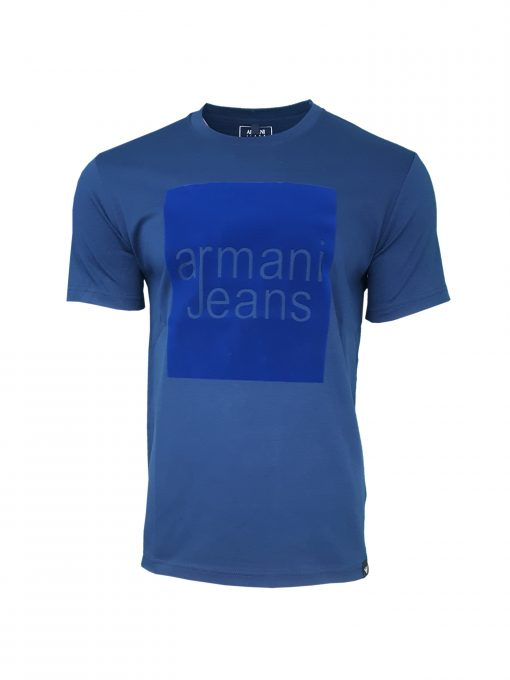 Armani Jeans - Men's Crew T Shirt Square Flock. Short Sleeve. Regular Fit INDIGO