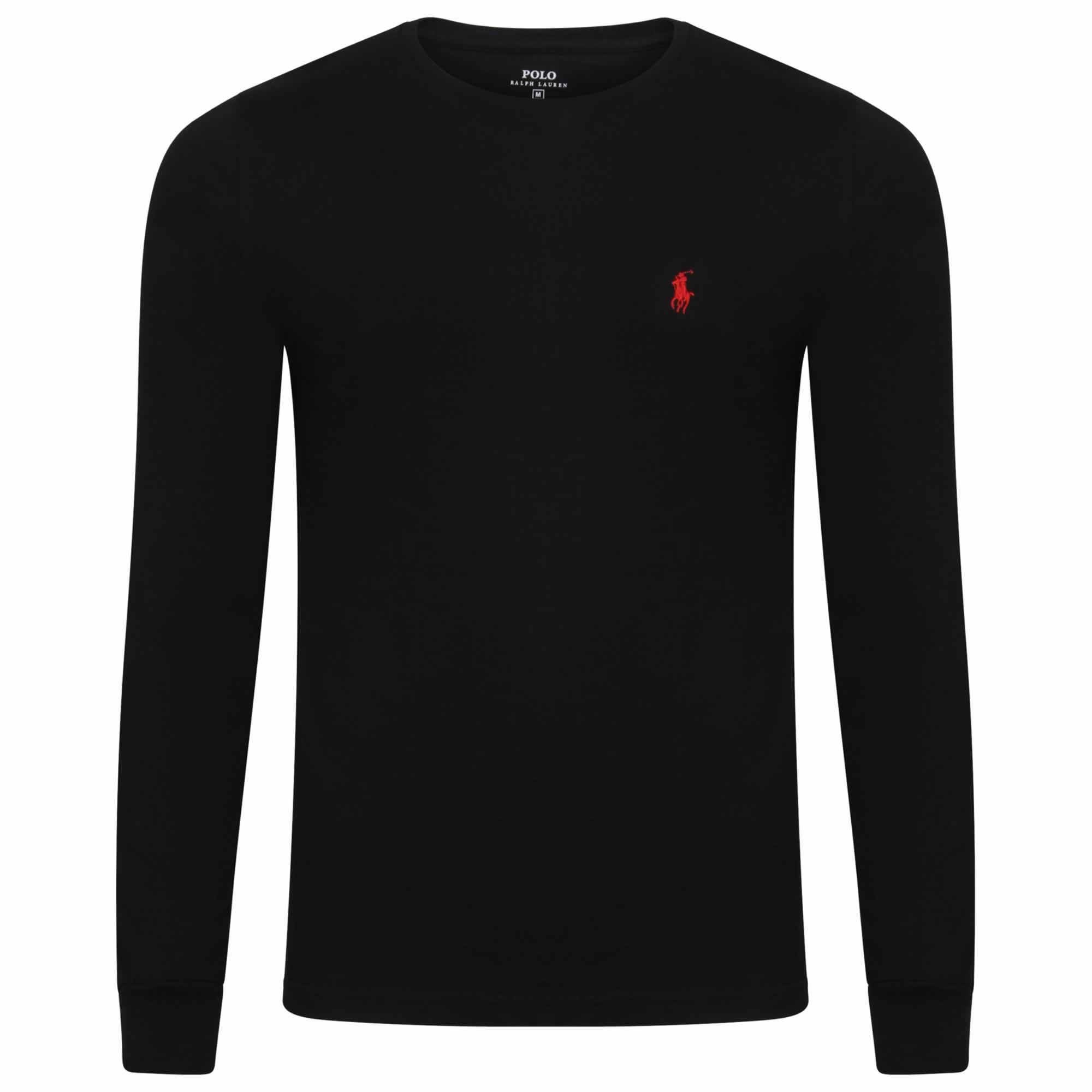 1e26f3dbaac58 Ralph Lauren Long Sleeve Crew T-Shirt. Custom Fit in Black
