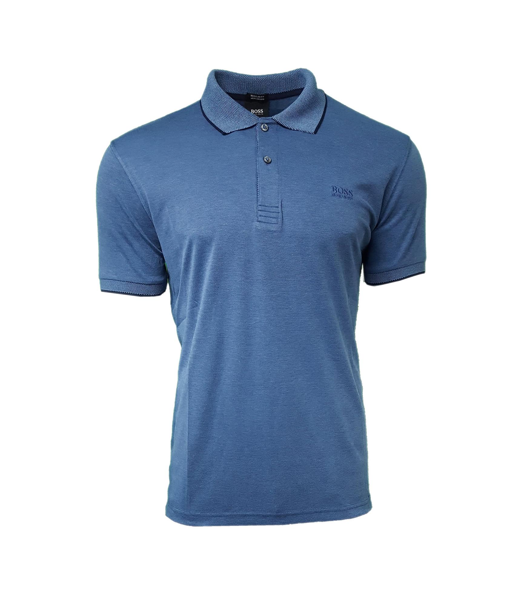 cff00adc8 Hugo Boss Men's Mercerised Polo Shirt. Short Sleeve. Chest Embroidered Logo  in Denim Blue | INTOTO7 Menswear