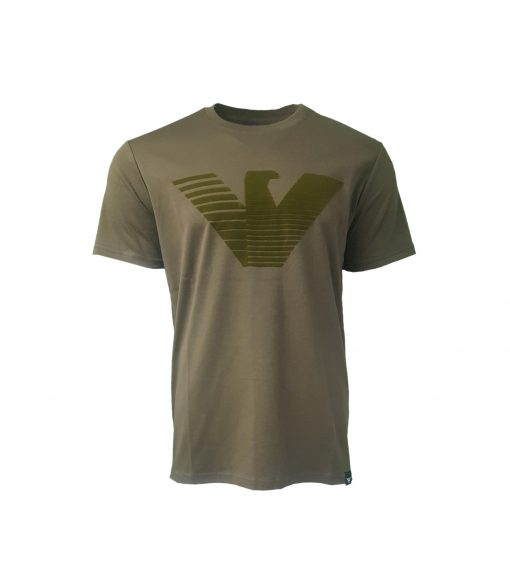Armani Jeans Flock Print T Shirt. Big Eagle in KHAKI GREEN