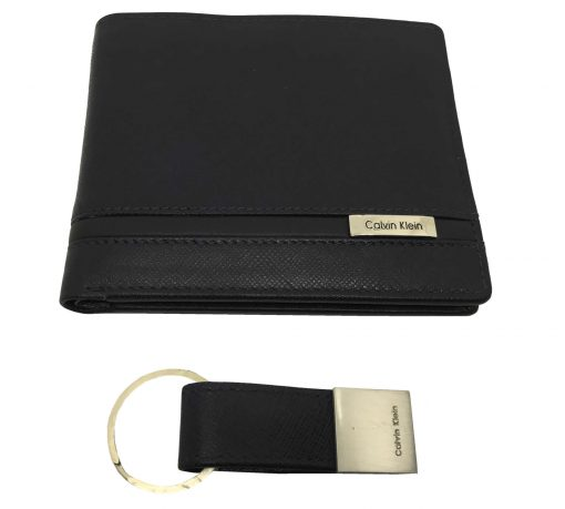 Calvin Klein Men's Passcase Wallet and Keyring in Navy Blue with Black Stripe