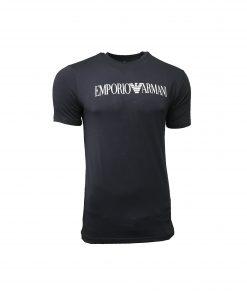 Emporio Armani Men's Printed Crew T Shirt. Short Sleeve Navy Blue