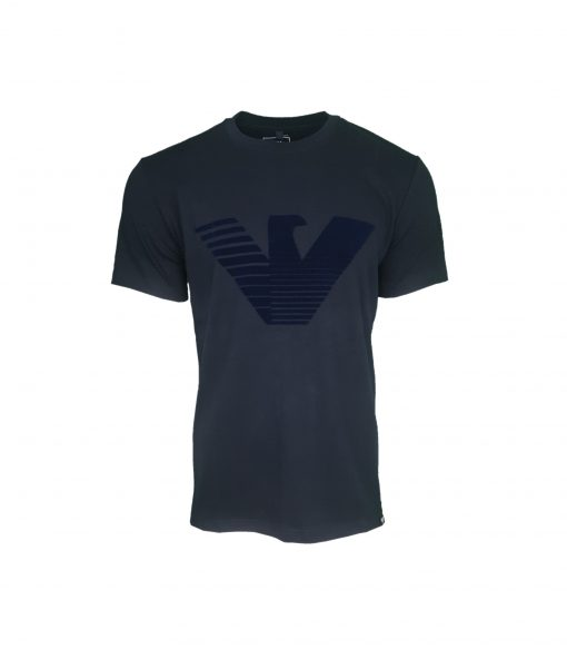Armani Jeans Flock Print T Shirt. Big Eagle in Navy Blue