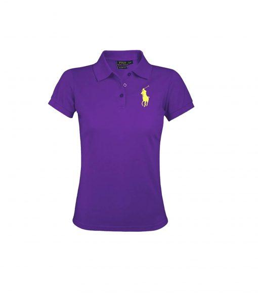 Ralph Lauren Women's Polo Shirt Big Pony. The Skinny Polo in PURPLE