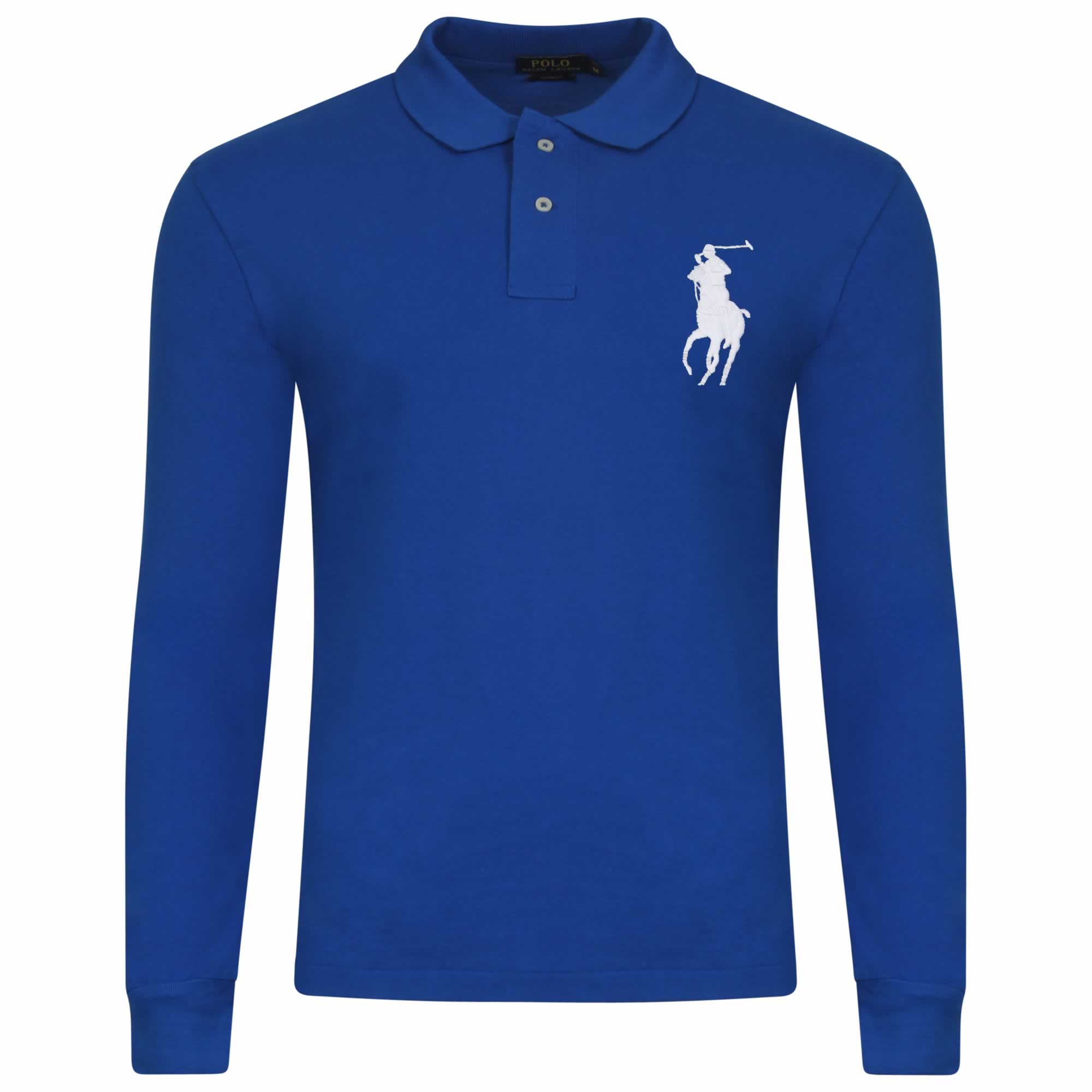 Ralph Lauren Long Sleeve Big Pony. Polo Shirt. Custom Fit in Royal ... 569a72c7be03