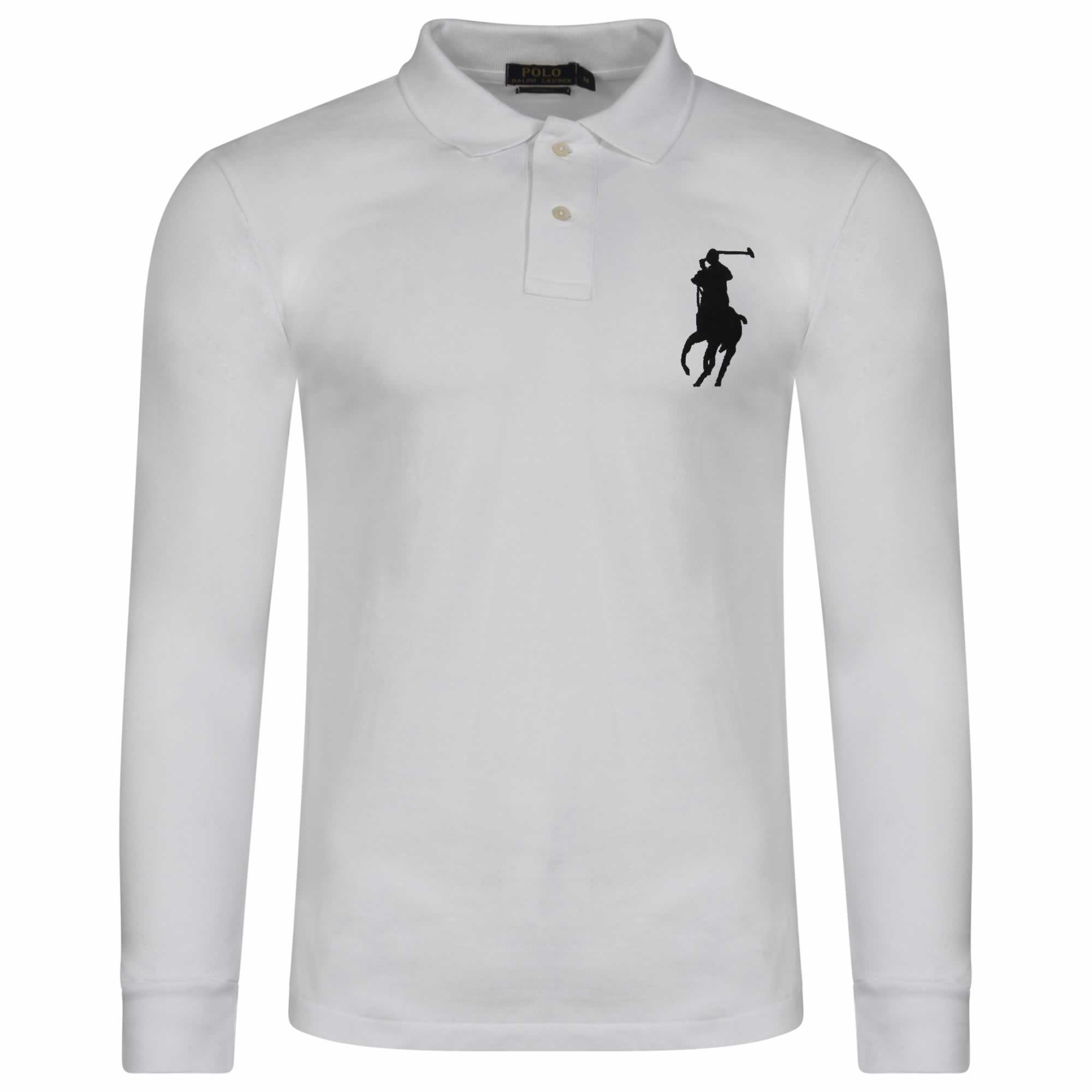 a12877b59617b4 Ralph Lauren Long Sleeve Big Pony. Polo Shirt. Custom Fit in White - INTOTO7
