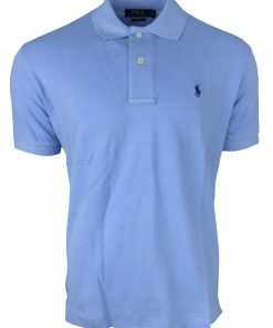 Ralph Lauren Short Sleeve Polo Shirt. Custom Fit in Sky Blue.