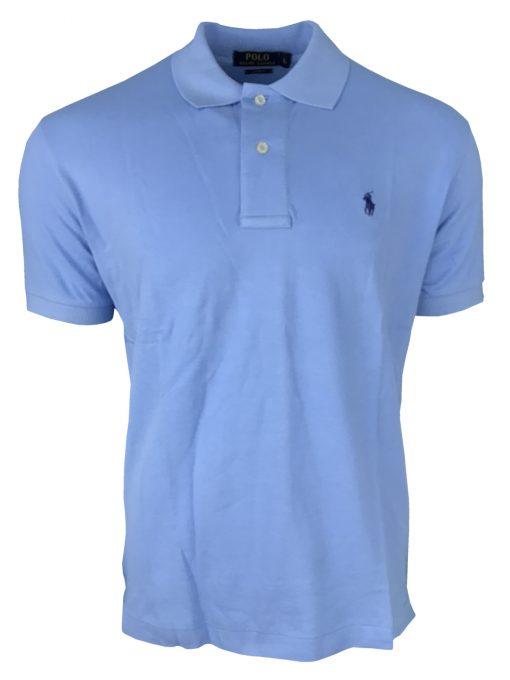 Ralph Lauren Short Sleeve Polo Shirt. Custom Fit in Sky Blue.