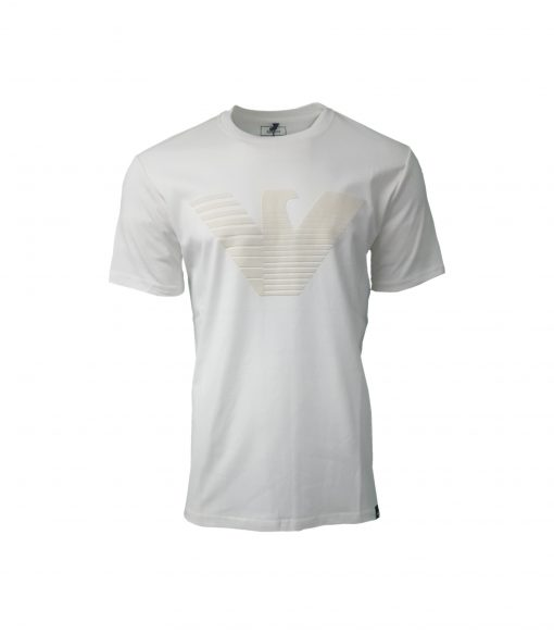 Armani Jeans Flock Print T Shirt. Big Eagle in WHITE