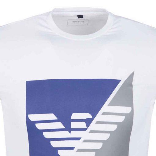 Armani Jeans - Men's Crew T Shirt. Short Sleeve. Split Square White ZOOM