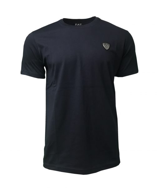 EA7 Emporio Armani Mens Crew Shield T Shirt. Short Sleeve in Navy Blue