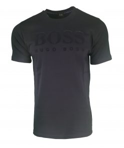Hugo Boss Flock Print Chest Logo. Short Sleeve Crew T Shirt Navy