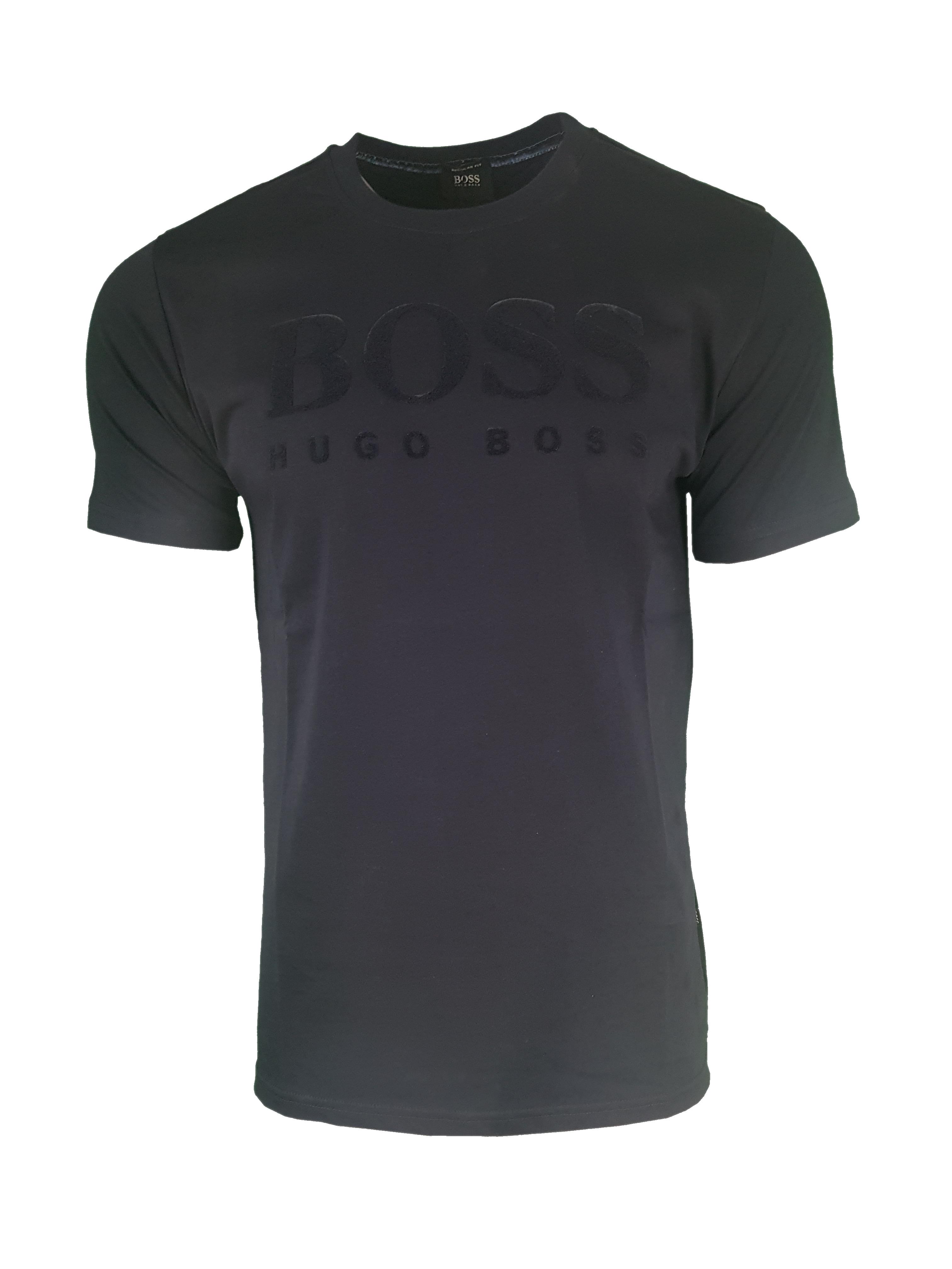 8100bd7b Hugo Boss Flock Print Chest Logo. Short Sleeve Crew T Shirt in Dark ...