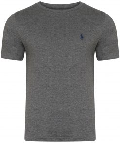 Ralph Lauren Short Sleeve Crew T-Shirt. Custom Fit in Dark Grey