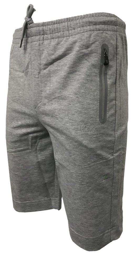Hugo Boss Cotton Athleisure Jogger Shorts in Light Grey