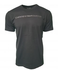 Emporio Armani Short Sleeve Crew T Shirt. Half Embroidered Logo in Black
