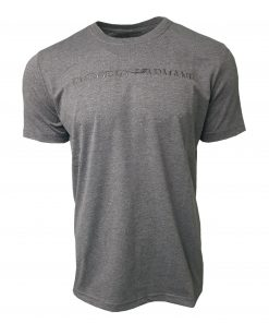 Emporio Armani Short Sleeve Crew T Shirt. Half Embroidered Logo Dark Grey