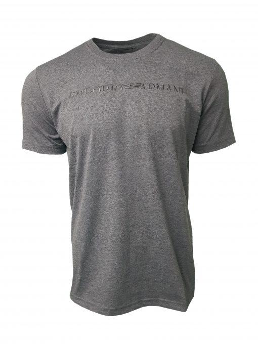 Emporio Armani Short Sleeve Crew T Shirt. Half Embroidered Logo Dark Grey
