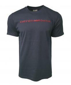 Emporio Armani Short Sleeve Crew T Shirt. Half Embroidered Logo Navy Blue