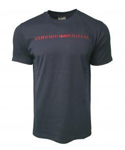 Emporio Armani Short Sleeve Crew T Shirt. Half Embroidered Logo Navy Blue
