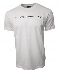 Emporio Armani Short Sleeve Crew T Shirt. Half Embroidered Logo White