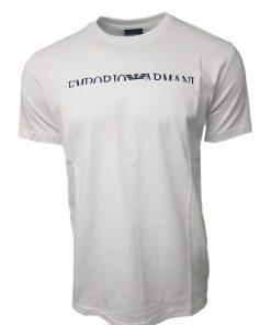 Emporio Armani Short Sleeve Crew T Shirt. Half Embroidered Logo White