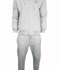 Hugo Boss Pavlik Tracksuit Top Jacket & Bottoms with Contrast Logo in Light Grey