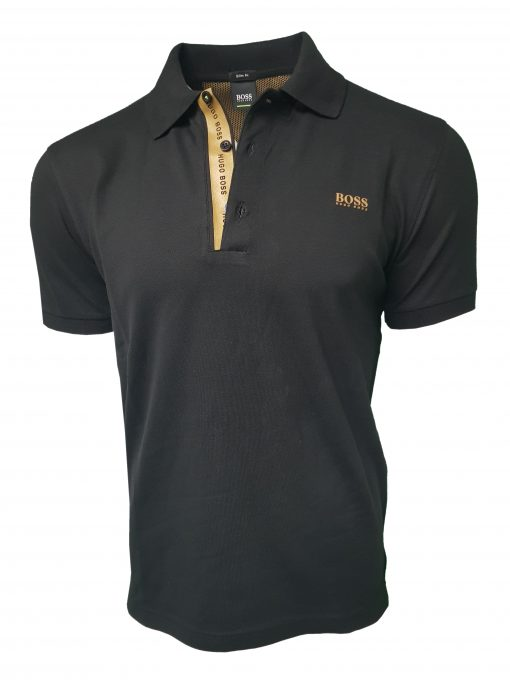 Hugo Boss Polo Shirt. Short Sleeve with Golden Placket