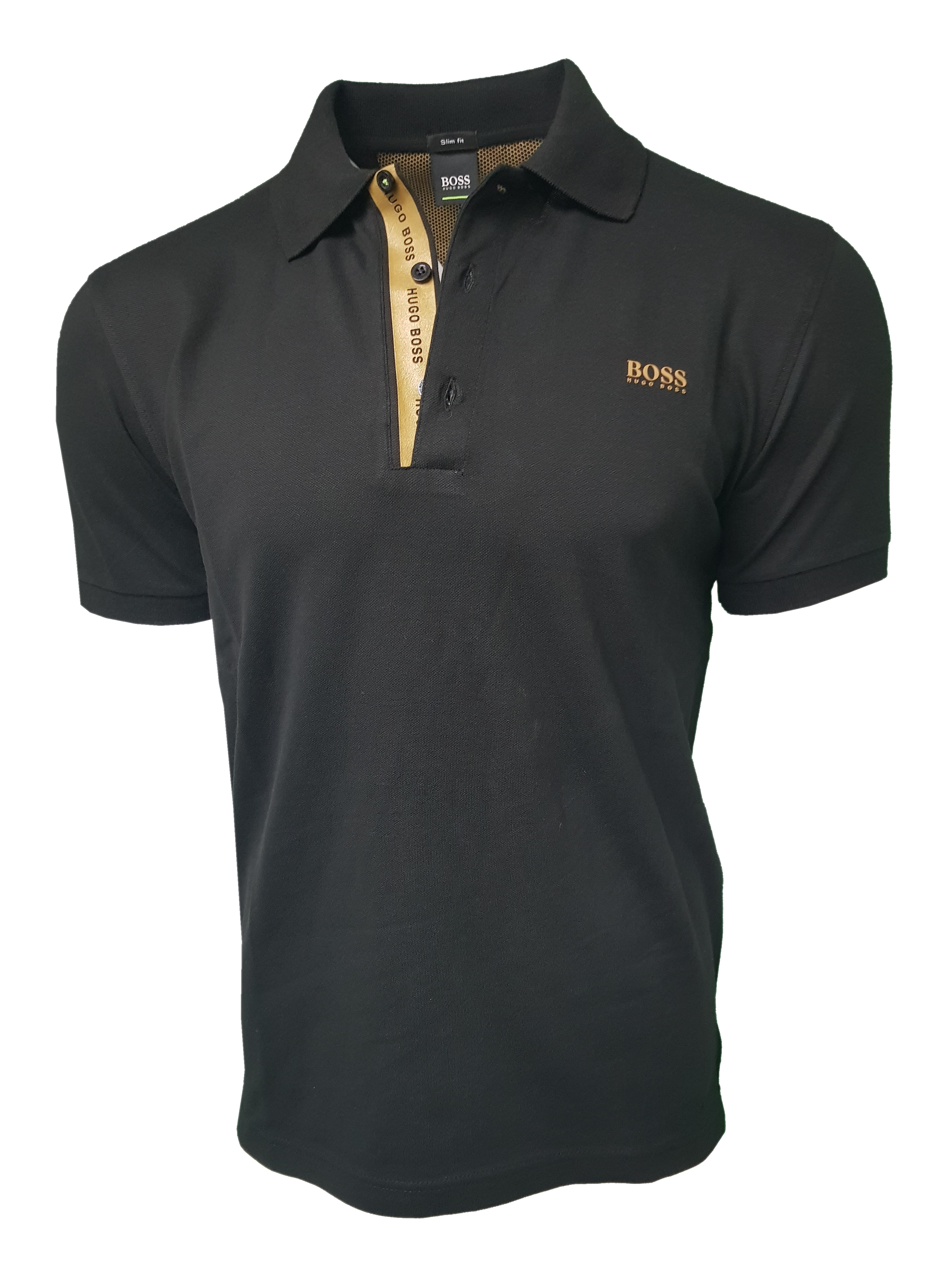 46f5d8804bd Hugo Boss Polo Shirt. Short Sleeve with Golden Placket in Black ...