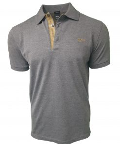 Hugo Boss Polo Shirt. Short Sleeve with Golden Placket in Dark Grey