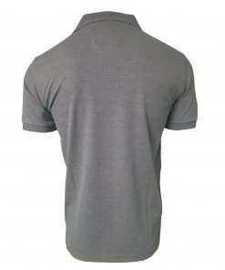 Hugo Boss Polo Shirt. Short Sleeve with Golden Placket in Dark Grey Rear
