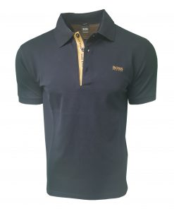 Hugo Boss Polo Shirt. Short Sleeve with Golden Placket in Navy Blue