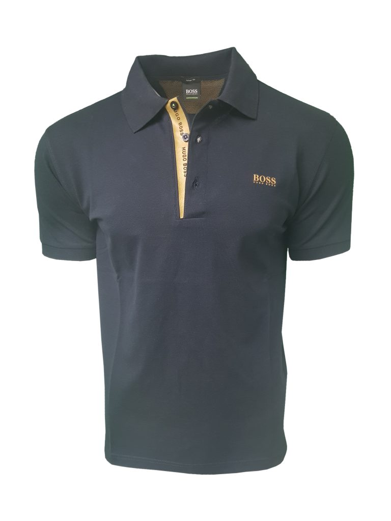 hugo boss polo shirt short sleeve with golden placket in navy blue intoto7 menswear