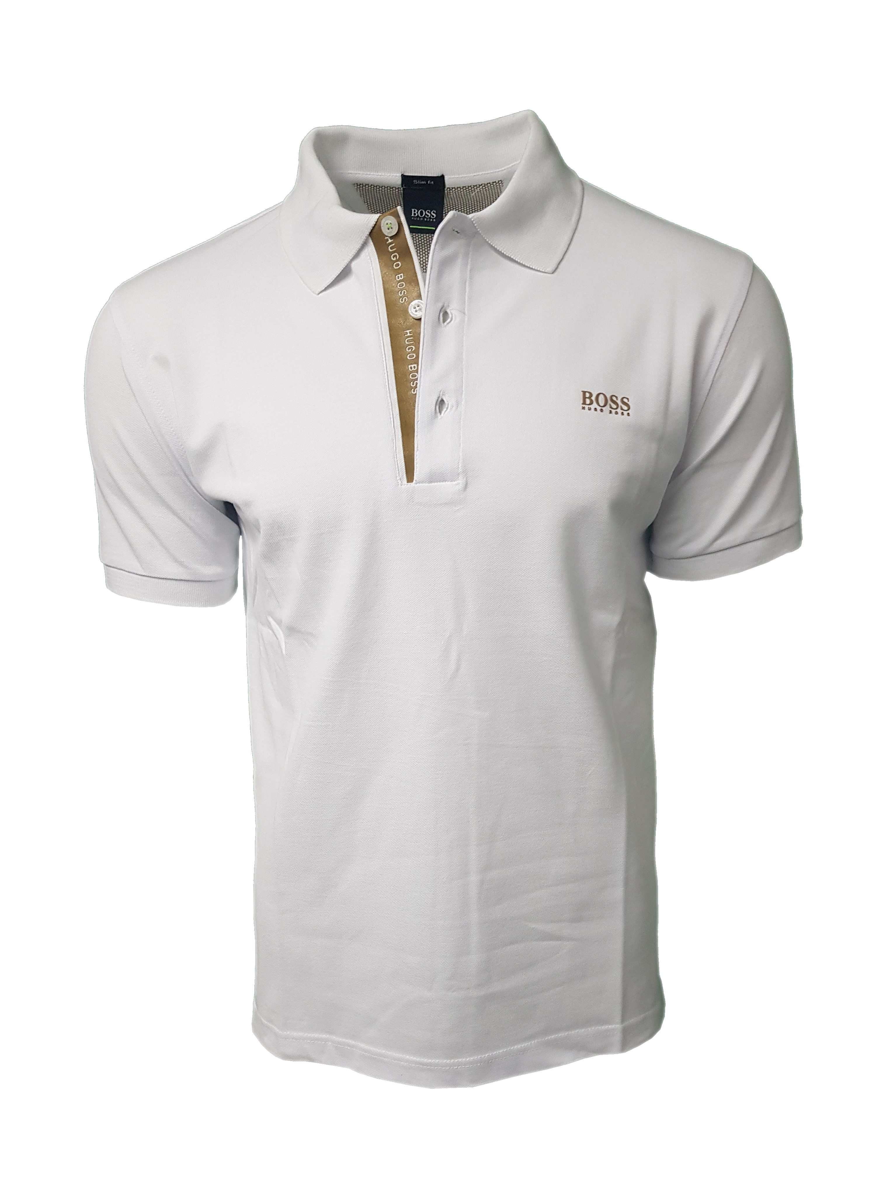 67a30c9f Hugo Boss Polo Shirt. Short Sleeve with Golden Placket in White ...
