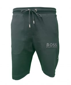 Hugo Boss Tech Jersey Capri Embossed Lined Shorts Black Front Black