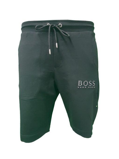 Hugo Boss Tech Jersey Capri Embossed Lined Shorts Black Front Black
