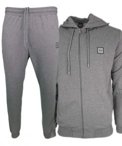Hugo Boss Pavlik Tracksuit Top Jacket & Bottoms with Contrast Logo in Dark Grey