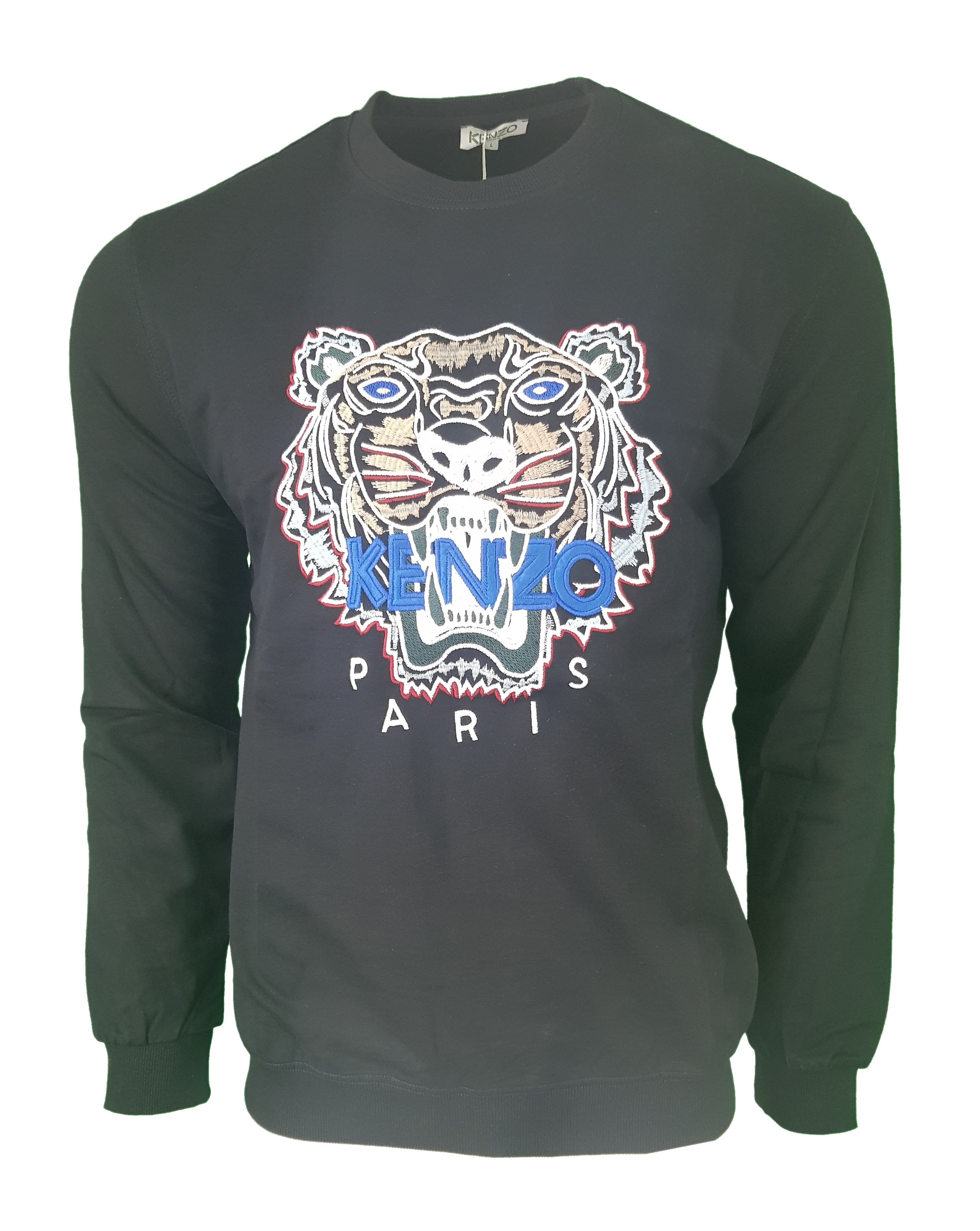 6a7ee964 Kenzo Tiger Embroidered Sweatshirt in Navy Blue with Brown Tiger ...