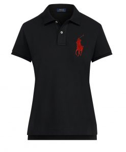 Ralph Lauren Women's Polo Shirt Big Pony. The Skinny Polo in Black