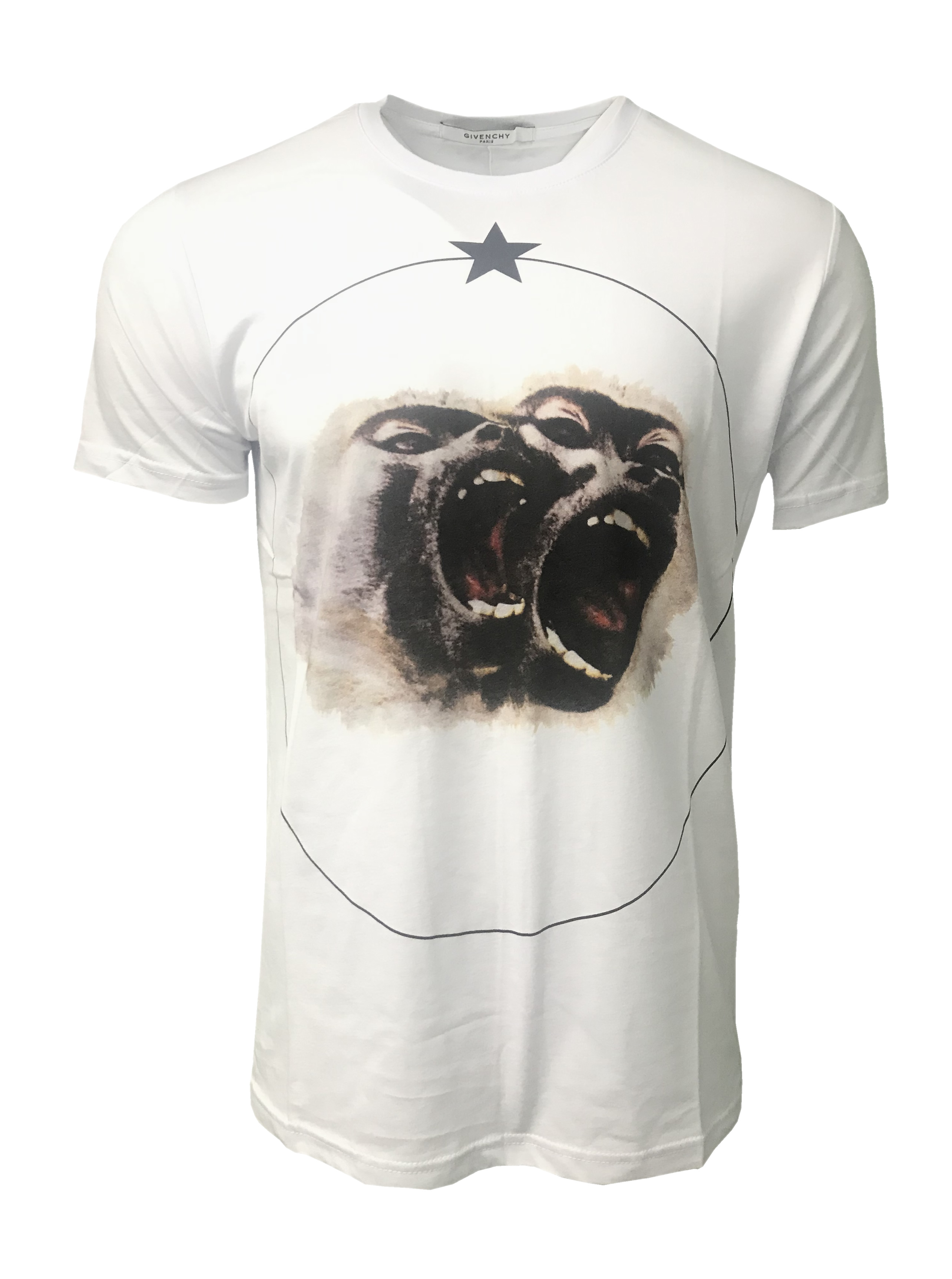 c042f8ff24f0 Givenchy Short Sleeve Crew T Shirt. Monkey Brothers Print in White ...