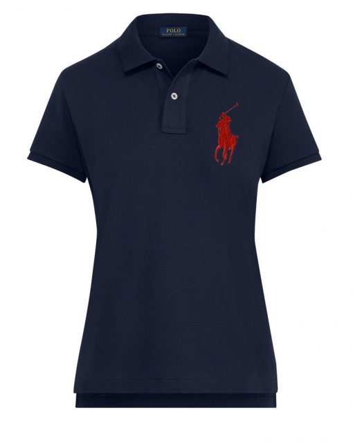 Ralph Lauren Women's Polo Shirt Big Pony. The Skinny Polo in Navy Blue