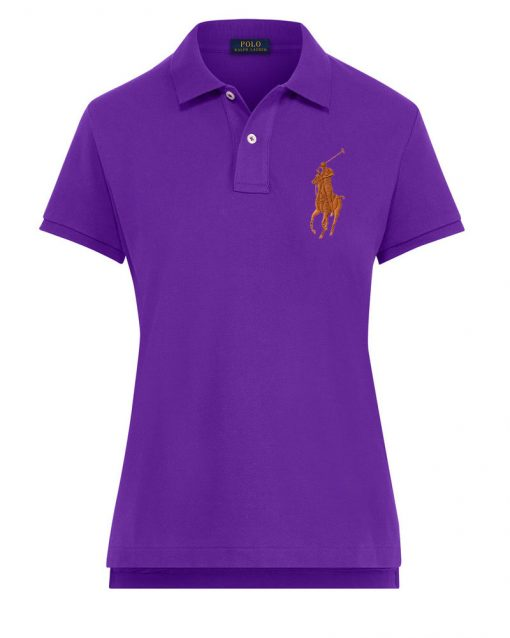 Ralph Lauren Women's Polo Shirt Big Pony. The Skinny Polo in PURPLE ORANGE BP