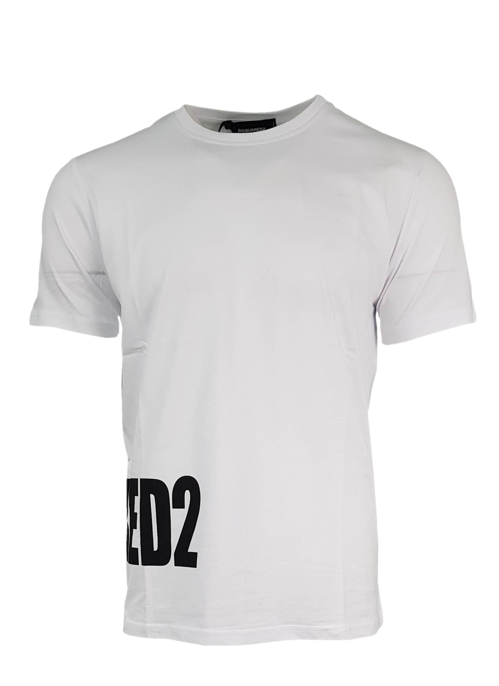 b9a70af8e10ae Dsquared2 Men's Crew Neck T Shirt. Side Logo Print in White ...