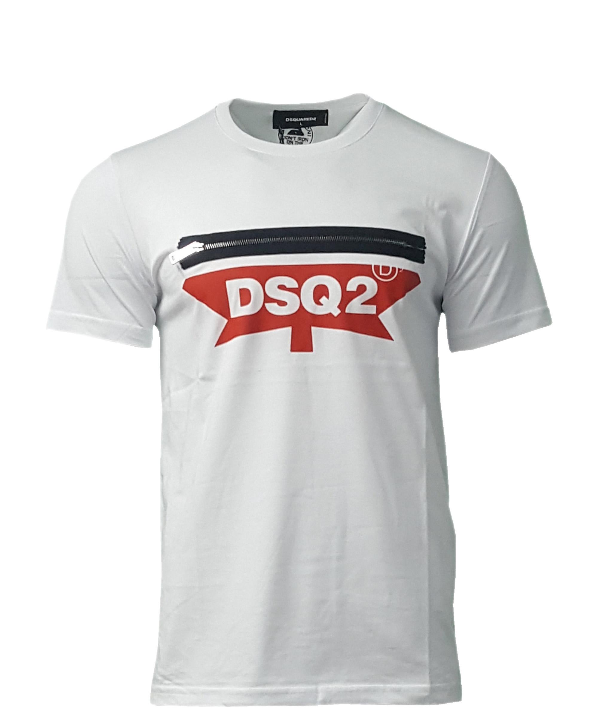 168abc71254b Dsquared2 Men's Crew Neck T Shirt. Maple Leaf Print in White ...