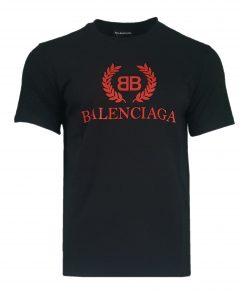 Balenciaga Short Sleeve Mens Red Logo Crew T-shirt in Black